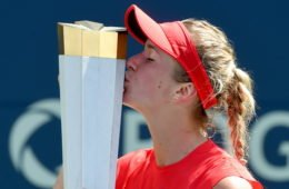 Aug 13, 2017; Toronto, Ontario, Canada;   Elina Svitolina of Ukraine kisses the winners trophy after defeating  Caroline Wozniacki of Denmark (not pictured) during the women's final of the Rogers Cup tennis tournament at Aviva Centre. Mandatory Credit: Dan Hamilton-USA TODAY Sportsrtsts